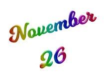 26 november Datum van Maandkalender, Kalligrafische 3D Teruggegeven Tekstillustratie kleurde met RGB Regenbooggradiënt Royalty-vrije Stock Afbeelding