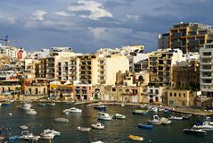 7 November - Day of the cyclone mediterranean in Malta. ST.JULIANS BAY, MALTA ISLAND - NOVEMBER 7, 2014. Maltese Coast  in St. Julians Bay.Mediterranean cyclone Royalty Free Stock Image