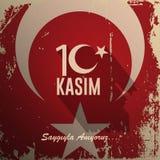 10 november, de stichter van de Republiek Turkije M K De verjaardag van de Ataturk` s dood Het Engels: 10 november, 1881-1938 Tur vector illustratie