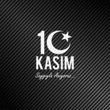 10 november, de stichter van de Republiek Turkije M K De verjaardag van de Ataturk` s dood Het Engels: 10 november, 1881-1938 Tur stock illustratie
