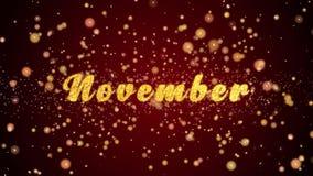 November-de tekst glanzende deeltjes van de Groetkaart voor viering, festival stock illustratie