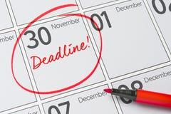 November 30. Deadline written on a calendar - November 30 royalty free stock images