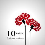 10 November, Death Day anniversary. With carnation flower stock illustration