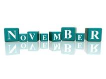 November in den Würfeln 3d Lizenzfreies Stockfoto