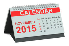 November 2015, desk calendar Royalty Free Stock Photos