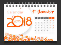 November 2018. Desk Calendar 2018. Template design, Set 11 of 12 stock illustration