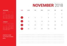 November 2018 desk calendar vector illustration. Simple and clean design Royalty Free Stock Photos