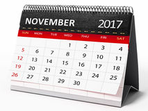 November 2017 desktop calendar. 3D illustration. November 2017 desktop calendar isolated on white background. 3D illustration Stock Photography
