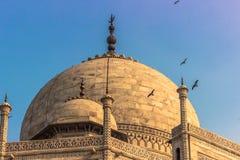 02 november, 2014: Detail van het dak van Taj Mahal in Agra, Stock Foto's