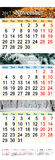 November Dezember 2017 und Januar 2018 mit farbigen Bildern in der Form des Kalenders Stockfoto