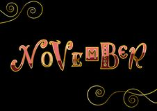 November with different letters in pink and red with golden outlines and decorative elements on black. Lettering of November with different letters in pink and Vector Illustration