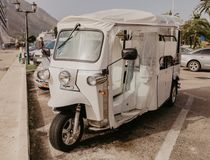 30 november 2018, electric tourist vehicle waiting for a passengers on Kotor Bay, Montenegro stock photography