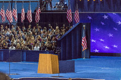 NOVEMBER 8, 2016, Empty Podium Election Night at Jacob K. Javits Center - venue for Democratic presidential nominee Hillary Clinto stock images