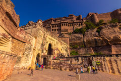 November 05, 2014: Entrance to the Mehrangarh fort in Jodhpur, I Stock Photography