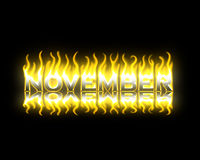 November on Fire. November Text on Fire with Reflection Stock Photos