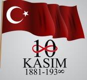 10 November grundare av den Republiken Turkiet Mustafa Kemal Ataturk dödårsdagen Engelska: November 10, 1881-1938 royaltyfri illustrationer