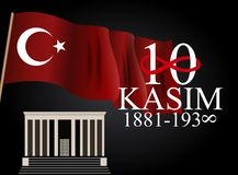 10 November grundare av den Republiken Turkiet Mustafa Kemal Ataturk dödårsdagen Engelska: November 10, 1881-1938 stock illustrationer