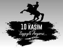 November 10, grundaren av Republiken Turkiet M K Årsdag för död för Ataturk ` s Engelska: November 10, 1881-1938 Turk Fl royaltyfri illustrationer