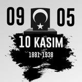 November 10, grundaren av Republiken Turkiet M K Årsdag för död för Ataturk ` s Engelska: November 10, 1881-1938 Turk Fl vektor illustrationer
