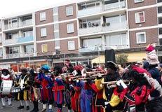 24-November-2018 Haga, holandie, Europa Świętujący przyjazd Holenderski Świątobliwy Nicholas, nazwany Sinterklaas z jego, jak zdjęcia stock