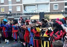 24-November-2018 Haga, holandie, Europa Świętujący przyjazd Holenderski Świątobliwy Nicholas, nazwany Sinterklaas z jego, jak fotografia stock
