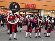 24-November-2018 Haga, holandie, Europa Świętujący przyjazd Holenderski Świątobliwy Nicholas, nazwany Sinterklaas z jego, jak zdjęcia royalty free