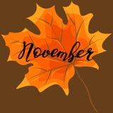 November, hand het van letters voorzien, citaten Moderne motivatiekalligrafie, Stock Afbeeldingen