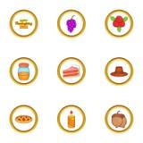 November holiday icons set, cartoon style. November holiday icons set. Cartoon illustration of 9 November holiday vector icons for web design vector illustration