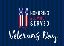 11 november Honoring all who served, Veterans day USA poster. Veterans day greeting card with typographic design 11 november Usa flag on background and text Royalty Free Stock Images
