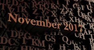 November 2017 - Houten 3D teruggegeven brieven/bericht Royalty-vrije Stock Foto's
