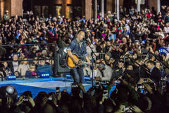NOVEMBER 7, 2016, INDEPENDENCE HALL, Musician Bruce Springsteen performs at an election eve rally for Hillary Clinton featuring Bi royalty free stock photography