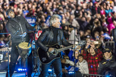 NOVEMBER 7, 2016, INDEPENDENCE HALL, Musician Jon Bon Jovi performs at an election eve rally for Hillary Clinton featuring Bill an Royalty Free Stock Photo