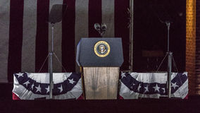 NOVEMBER 7, 2016, INDEPENDENCE HALL, PHIL., PA - Empty Podium with Presidential Seal for Presidents Obama and Clinton and Hillary stock photography