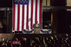 NOVEMBER 7, 2016, INDEPENDENCE HALL, PHIL., PA - Empty Podium with Presidential Seal for Presidents Obama and Clinton and Hillary royalty free stock photography