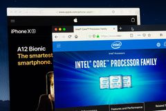Intel and Apple processors on Internet stock images