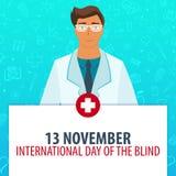 13 november. International day of the Blind. Medical holiday. Vector medicine illustration. 13 november. International day of the Blind. Medical holiday. Vector stock illustration