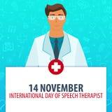 14 november. International day of Speech Therapist. Medical holiday. Vector medicine illustration. 14 november. International day of Speech Therapist. Medical Royalty Free Stock Photos