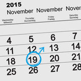 19 November 2015 International Mens Day. Calendar reminder Stock Images