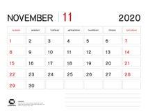 NOVEMBER 2020 Jahr-Schablone, Kalender-2020 Vektor, Tischkalender-Entwurf, Wochen-Anfang am Sonntag, Planer, Briefpapier, Drucken vektor abbildung