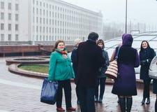 7. November 2018 Jahrestag Minsks Weißrussland der großen sozialistischen Revolution Oktobers stockfotos
