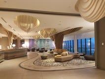 8. November 2016 Jen Puteri Harbour Hotel Johor Baru, Malaysia-Lobbyaufenthaltsraumdesign Lizenzfreies Stockbild