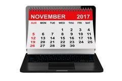 November 2017 Kalender über Laptopschirm Wiedergabe 3d Lizenzfreie Stockfotos
