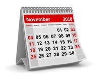 November 2018 - Kalender vector illustratie