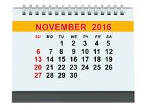 November 2016 kalender stock illustrationer