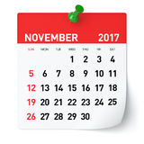November 2017 - Kalender Stock Fotografie