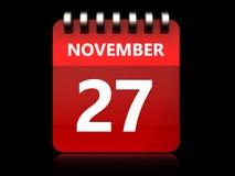 am 27. November Kalender 3d Lizenzfreies Stockbild