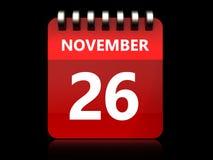 am 26. November Kalender 3d Stockbilder