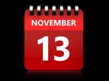 am 13. November Kalender 3d Lizenzfreie Stockbilder