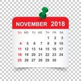November 2018 Kalender Kalenderaufkleber-Designschablone Woche s lizenzfreie abbildung