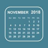 November 2018 Kalender Kalenderplaner-Designschablone Woche s Lizenzfreies Stockfoto